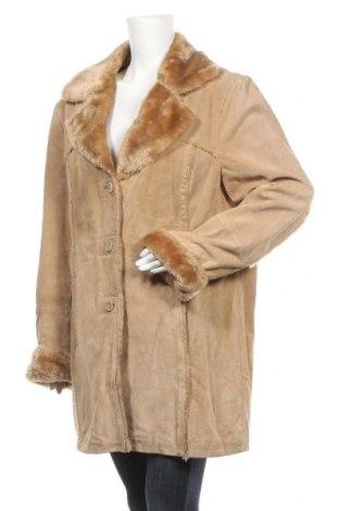 Дамско палто от естествен велур Manguun, Размер XXL, Цвят Бежов, Естествен велур, Цена 28,98лв.