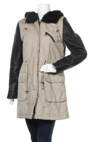Γυναικείο μπουφάν Ann Christine, Μέγεθος M, Χρώμα  Μπέζ, Βαμβάκι, δερματίνη, Τιμή 38,32€