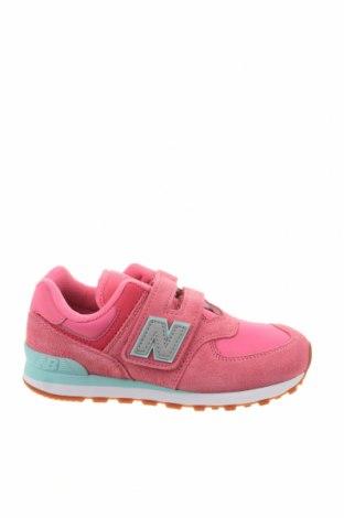 Детски обувки New Balance, Размер 32, Цвят Розов, Естествен велур, текстил, Цена 62,37лв.