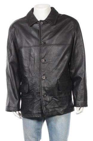 Мъжко кожено палто Angelo Litrico, Размер L, Цвят Черен, Естествена кожа, Цена 22,58лв.