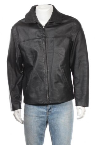 Ανδρικό δερμάτινο μπουφάν Berto Lucci, Μέγεθος L, Χρώμα Μαύρο, Γνήσιο δέρμα, Τιμή 27,28€