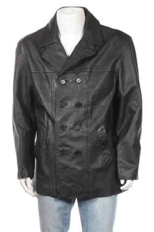 Ανδρικό δερμάτινο μπουφάν Berto Lucci, Μέγεθος XL, Χρώμα Μαύρο, Γνήσιο δέρμα, Τιμή 19,10€