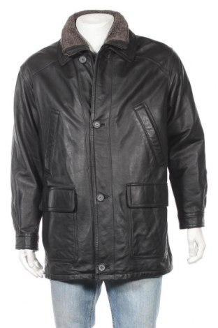 Ανδρικό δερμάτινο μπουφάν Berto Lucci, Μέγεθος XL, Χρώμα Μαύρο, Γνήσιο δέρμα, Τιμή 17,66€