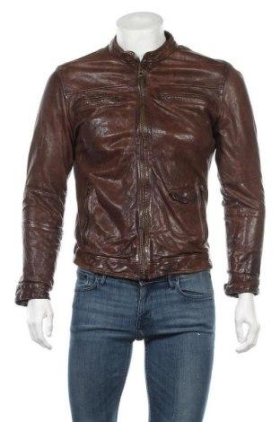 Ανδρικό δερμάτινο μπουφάν Pepe Jeans, Μέγεθος M, Χρώμα Καφέ, Γνήσιο δέρμα, Τιμή 82,48€