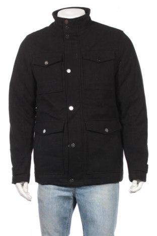 Мъжко палто F&F, Размер M, Цвят Черен, 95% полиестер, 4% вискоза, 1% еластан, Цена 51,87лв.
