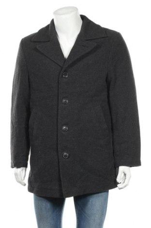Мъжко палто H&M L.O.G.G., Размер M, Цвят Сив, 70% вълна, 20% полиамид, 10% други нишки, Цена 21,26лв.