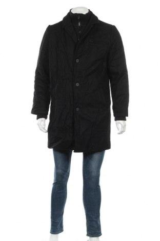 Мъжко палто Smog, Размер L, Цвят Черен, 50% вълна, 30% полиестер, 20% вискоза, Цена 19,69лв.