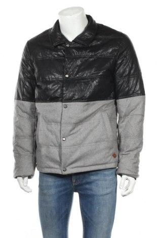 Ανδρικό μπουφάν Lee Cooper, Μέγεθος XL, Χρώμα Γκρί, Μαλλί, πολυεστέρας, δερματίνη, Τιμή 64,51€