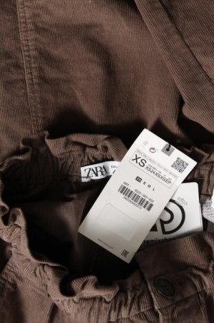 Пола Zara, Размер XS, Цвят Кафяв, Памук, еластан, Цена 15,66лв.