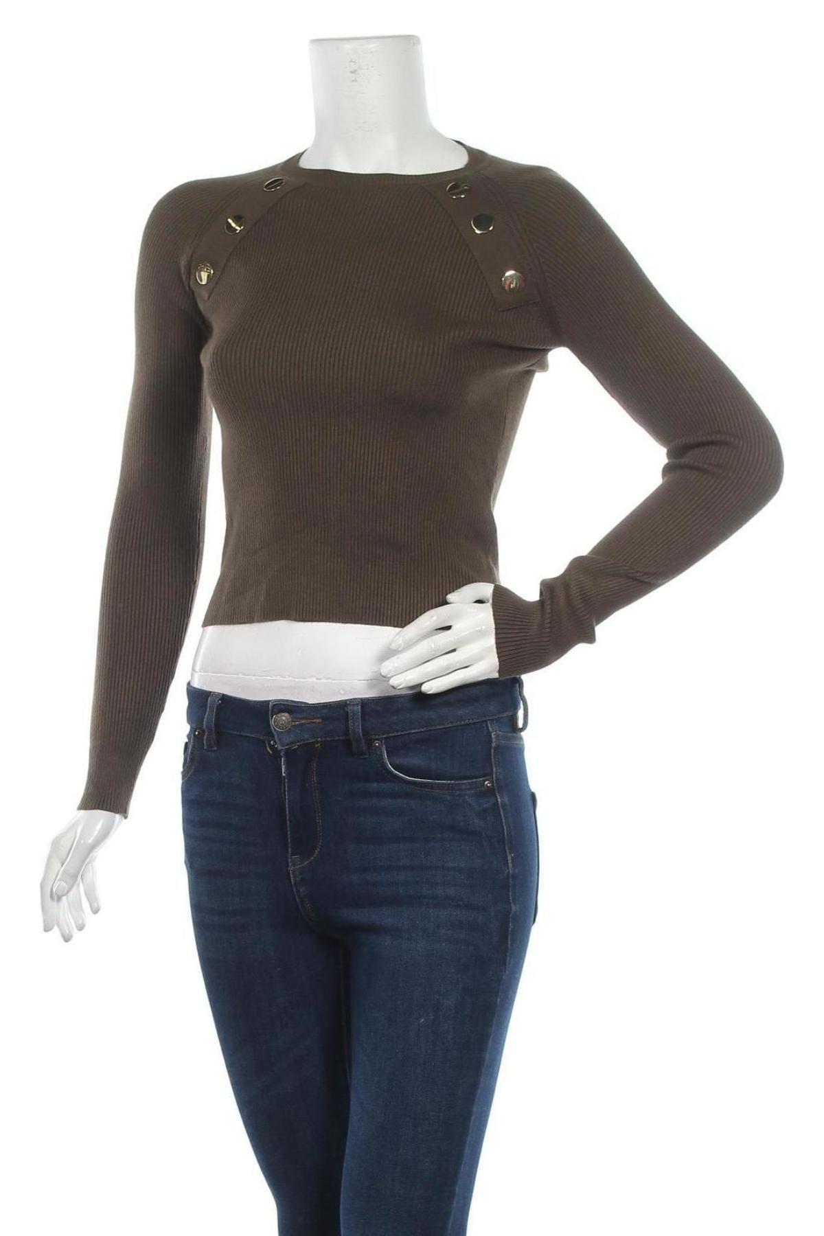 Дамски пуловер Zara, Размер S, Цвят Зелен, 68% вискоза, 32% полиамид, Цена 44,25лв.