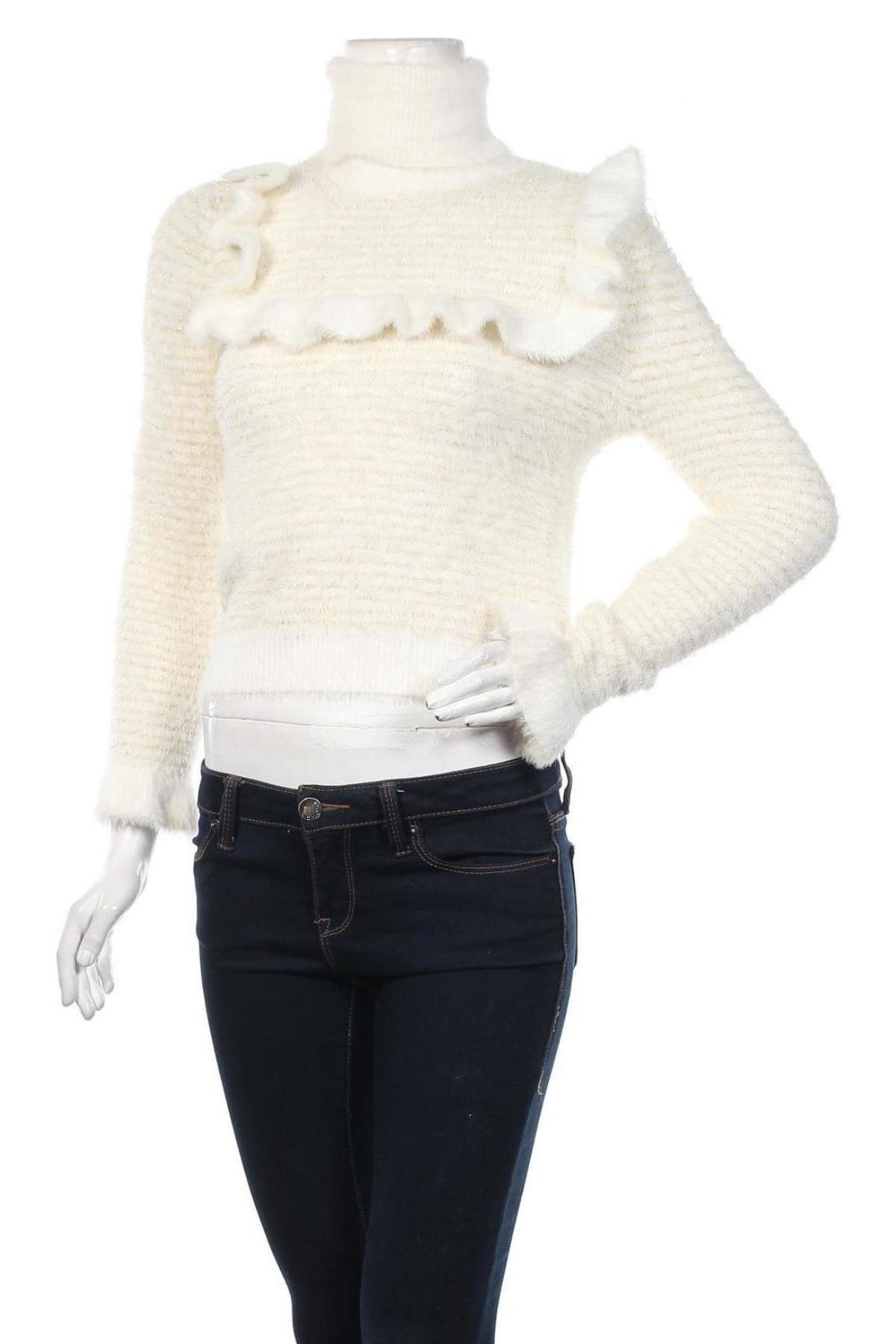 Дамски пуловер Zara, Размер S, Цвят Бял, 73% полиамид, 19% полиестер, 6% вискоза, 2% метални нишки, Цена 51,75лв.