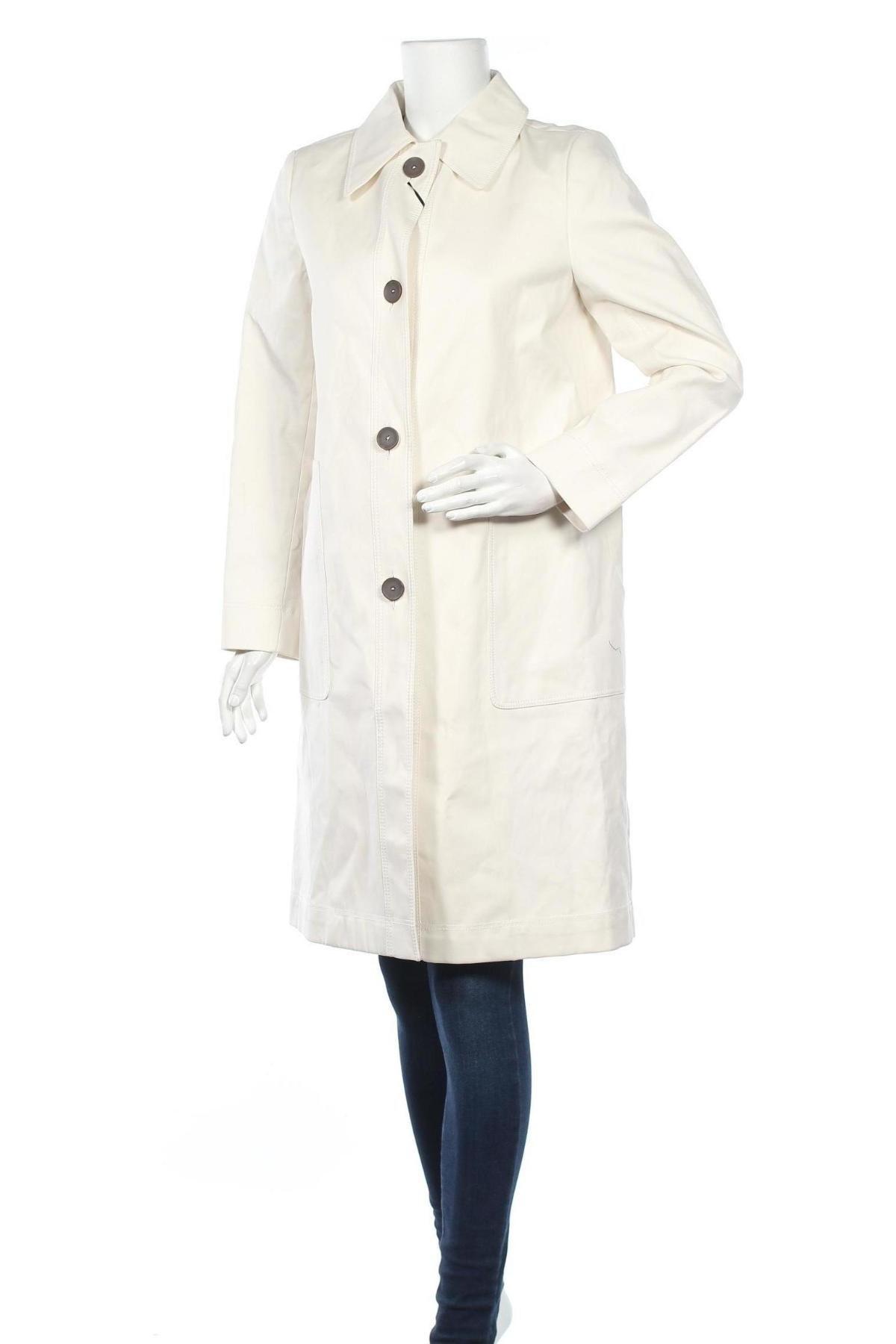Дамско палто Massimo Dutti, Размер L, Цвят Екрю, Памук, Цена 194,25лв.