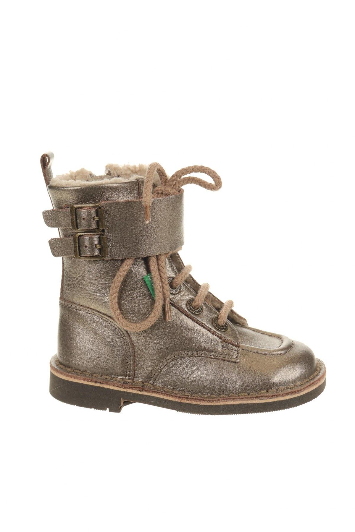 Παιδικά παπούτσια Kickers, Μέγεθος 26, Χρώμα Χρυσαφί, Γνήσιο δέρμα, Τιμή 38,27€