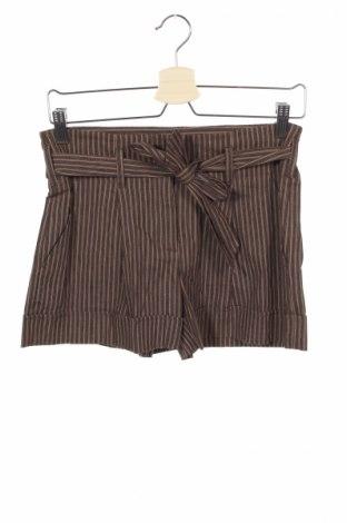 Дамски къс панталон BCBG Max Azria, Размер XXS, Цвят Кафяв, 73% лен, 25% памук, 2% еластан, Цена 58,05лв.