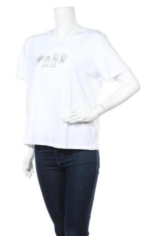 Дамска тениска Pieces, Размер XL, Цвят Бял, Памук, Цена 20,25лв.