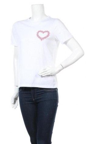 Дамска тениска Vila, Размер S, Цвят Бял, 50% памук, 50% полиестер, Цена 22,62лв.