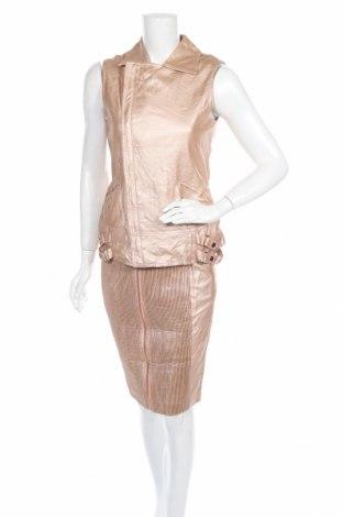 Дамски комплект Unreal Fur, Размер S, Цвят Златист, Еко кожа, Цена 68,88лв.