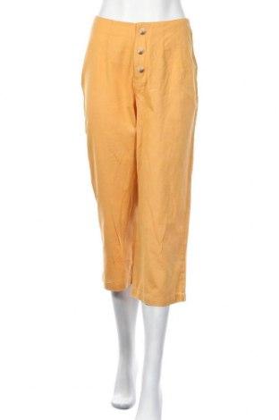 Дамски панталон About You, Размер S, Цвят Жълт, 85% памук, 15% лен, Цена 37,95лв.