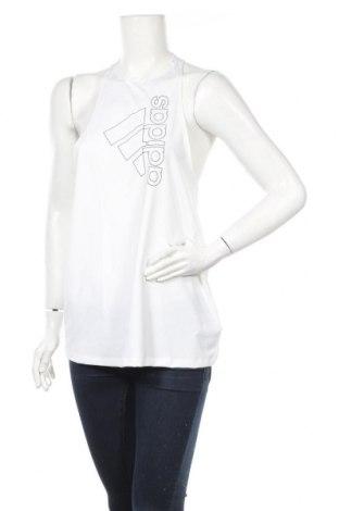 Γυναικείο αμάνικο μπλουζάκι Adidas, Μέγεθος M, Χρώμα Λευκό, 84% πολυεστέρας, 16% ελαστάνη, Τιμή 14,23€