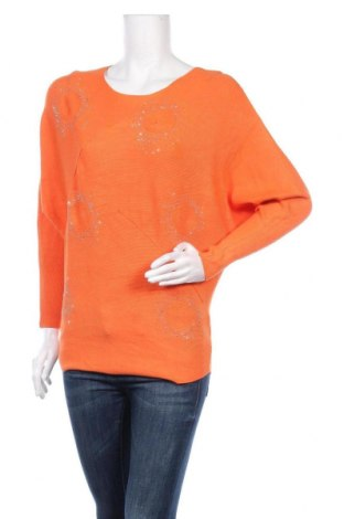 Γυναικείο πουλόβερ, Μέγεθος L, Χρώμα Πορτοκαλί, 55% βισκόζη, 27% πολυεστέρας, 18% πολυαμίδη, Τιμή 17,90€