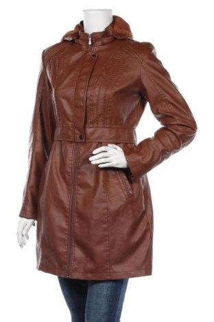 Дамско кожено палто, Размер M, Цвят Кафяв, Еко кожа, Цена 78,80лв.