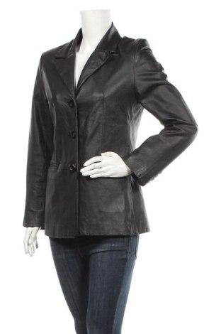 Дамско кожено яке, Размер M, Цвят Черен, Естествена кожа, Цена 22,58лв.