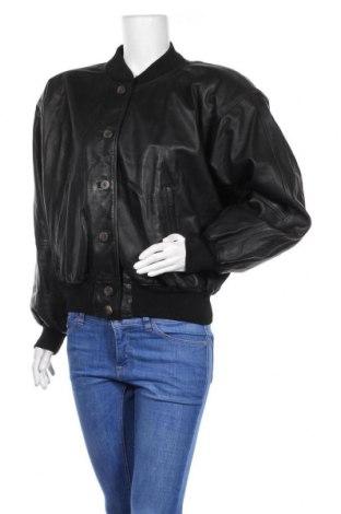 Дамско кожено яке, Размер L, Цвят Черен, Еко кожа, Цена 8,74лв.