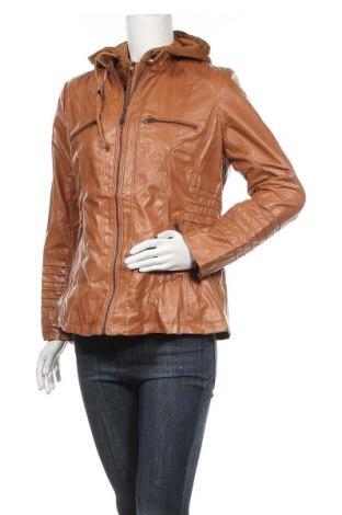 Дамско кожено яке, Размер L, Цвят Кафяв, Еко кожа, Цена 43,89лв.