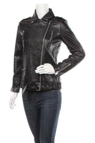 Дамско кожено яке ASOS, Размер XS, Цвят Черен, Естествена кожа, Цена 132,30лв.