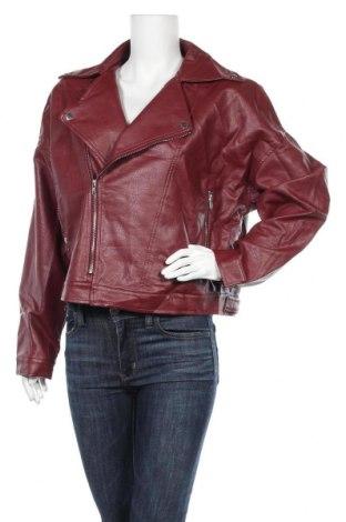 Дамско кожено яке Nasty Gal, Размер XL, Цвят Червен, Еко кожа, Цена 33,08лв.