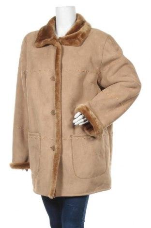 Дамско палто, Размер XL, Цвят Бежов, 63% акрил, 37% полиестер, Цена 22,68лв.