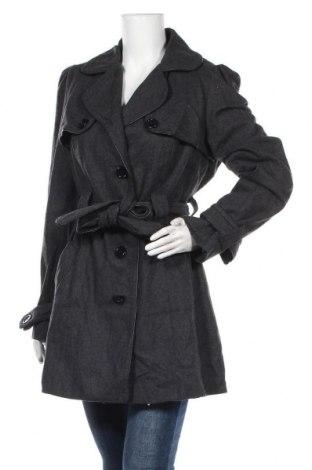Дамско палто Hot Options, Размер M, Цвят Сив, Вълна, полиестер, акрил, вискоза, полиамид, Цена 25,10лв.