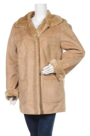 Дамско палто, Размер XL, Цвят Бежов, 63% акрил, 37% полиестер, Цена 25,20лв.