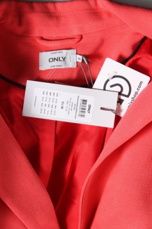 Дамско палто ONLY, Размер M, Цвят Червен, 70% полиестер, 25% вискоза, 5% еластан, Цена 30,08лв.