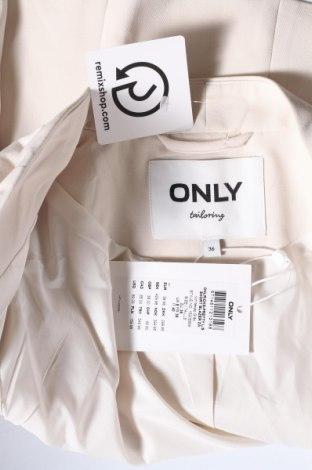 Дамско сако ONLY, Размер S, Цвят Екрю, 73% полиестер, 23% вискоза, 4% еластан, Цена 23,56лв.