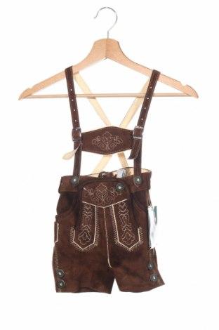 Παιδικό κοντό παντελόνι Isar-Trachten, Μέγεθος 12-18m/ 80-86 εκ., Χρώμα Καφέ, Φυσικό σουέτ, Τιμή 24,49€