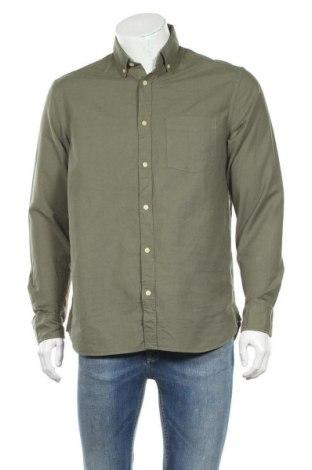 Мъжка риза H&M L.O.G.G., Размер M, Цвят Зелен, 100% памук, Цена 9,82лв.