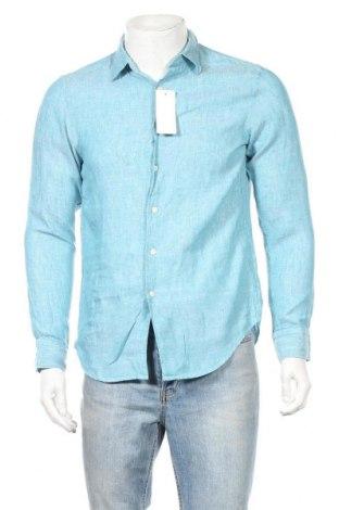 Мъжка риза Uniqlo, Размер S, Цвят Син, Лен, Цена 25,20лв.