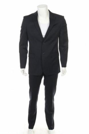 Мъжки костюм Izac, Размер S, Цвят Син, Вълна, Цена 57,80лв.