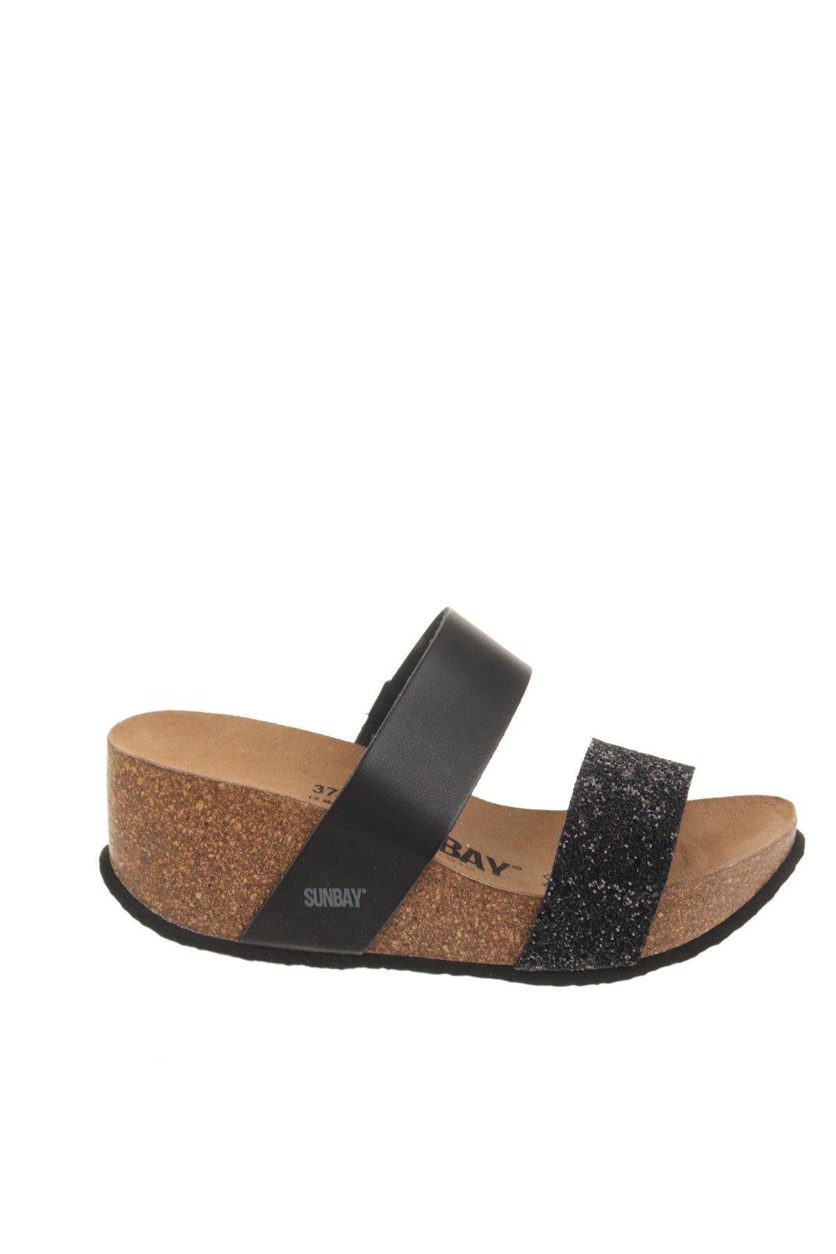 Γυναικείες παντόφλες Sunbay, Μέγεθος 37, Χρώμα Μαύρο, Δερματίνη, Τιμή 21,58€