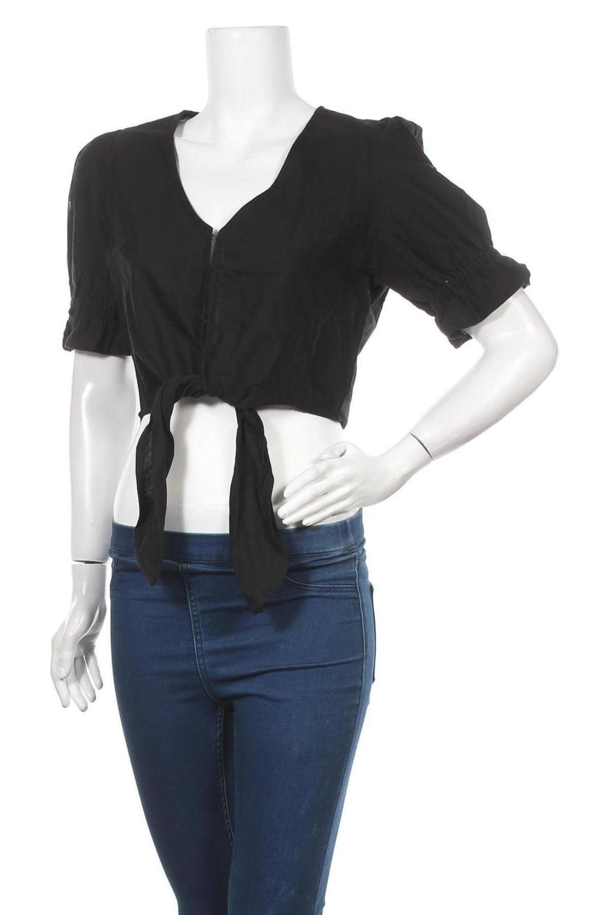 Дамска риза Cotton On, Размер L, Цвят Черен, 90% памук, 10% лен, Цена 17,10лв.