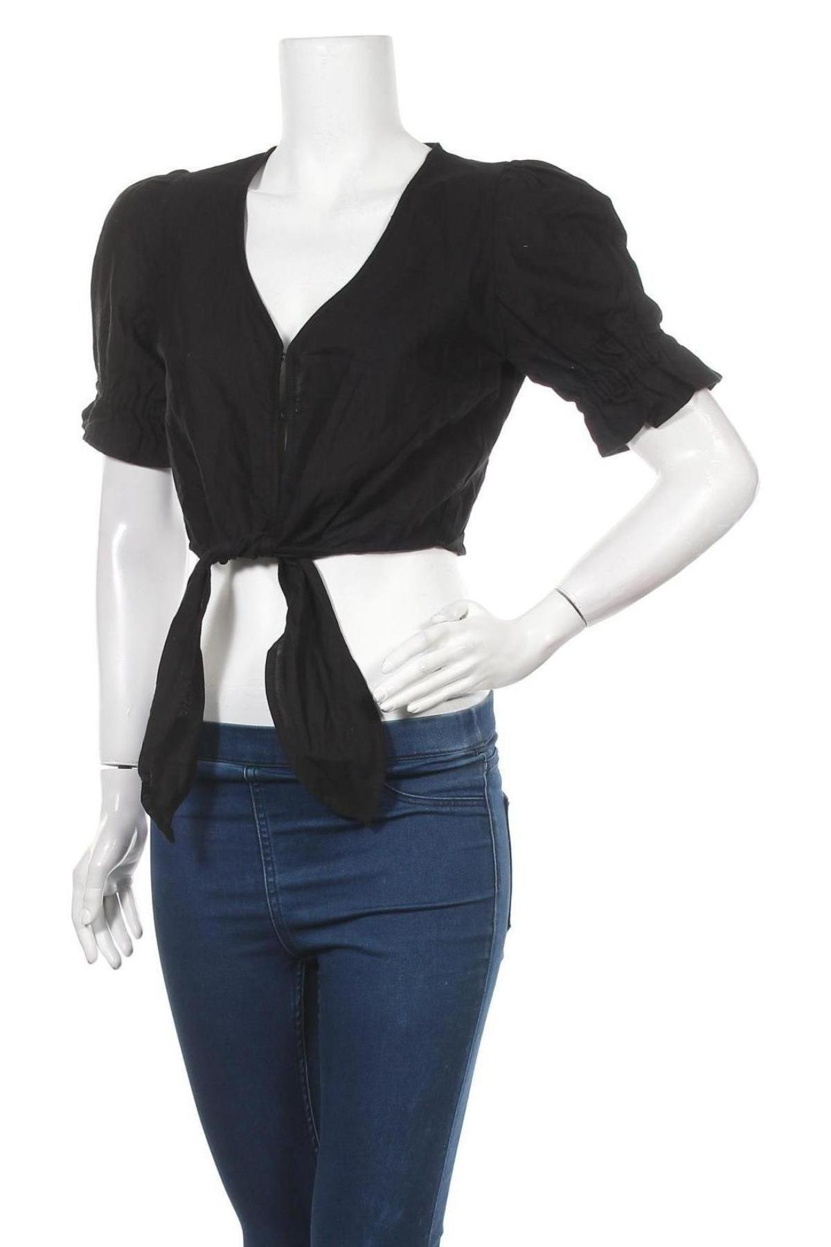 Дамска риза Cotton On, Размер M, Цвят Черен, 90% памук, 10% лен, Цена 17,10лв.