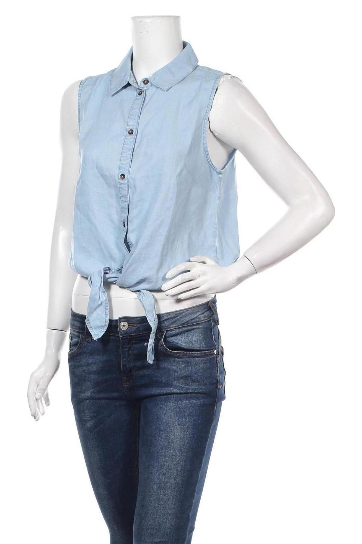 Дамска риза Noisy May, Размер M, Цвят Син, Лиосел, Цена 28,08лв.