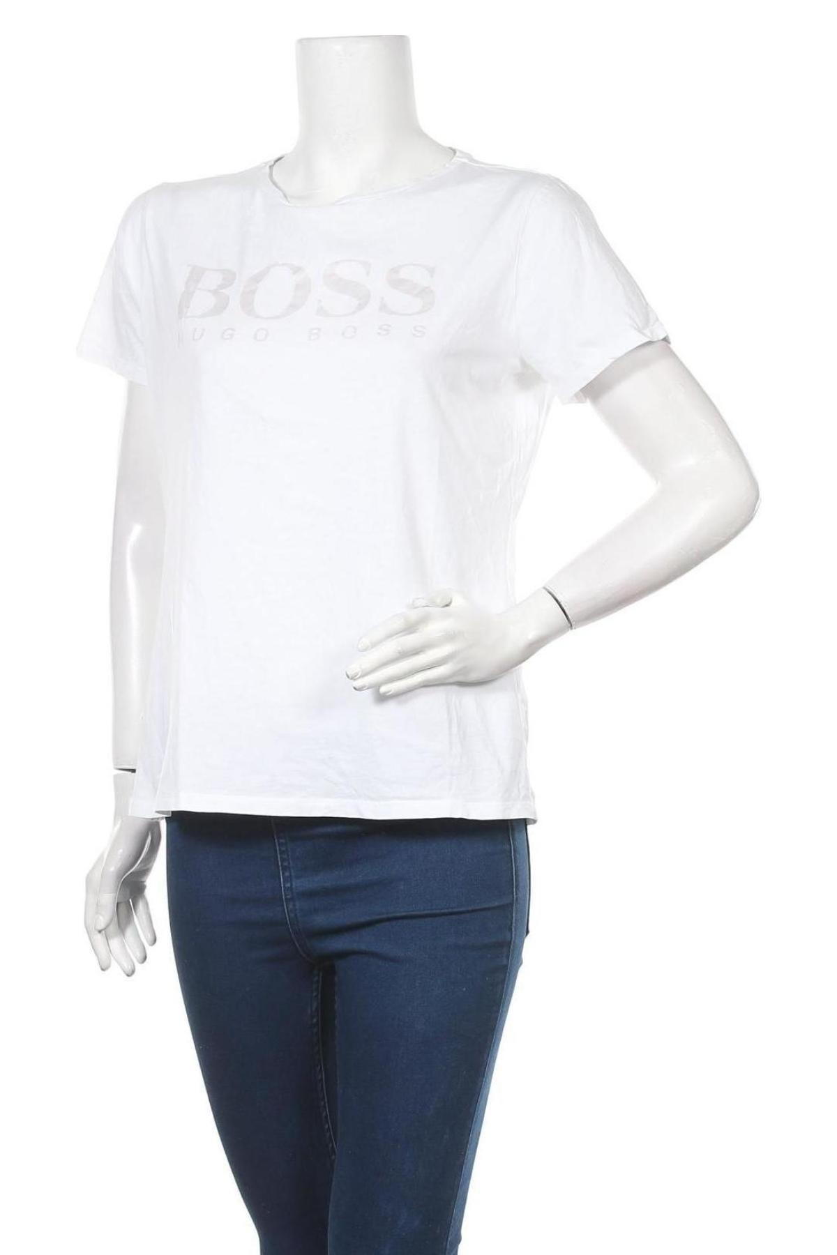 Дамска тениска Boss, Размер XL, Цвят Бял, Памук, Цена 94,52лв.