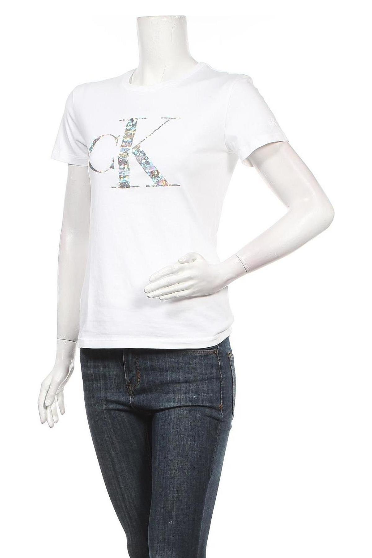 Дамска тениска Calvin Klein Jeans, Размер S, Цвят Бял, Памук, Цена 51,48лв.