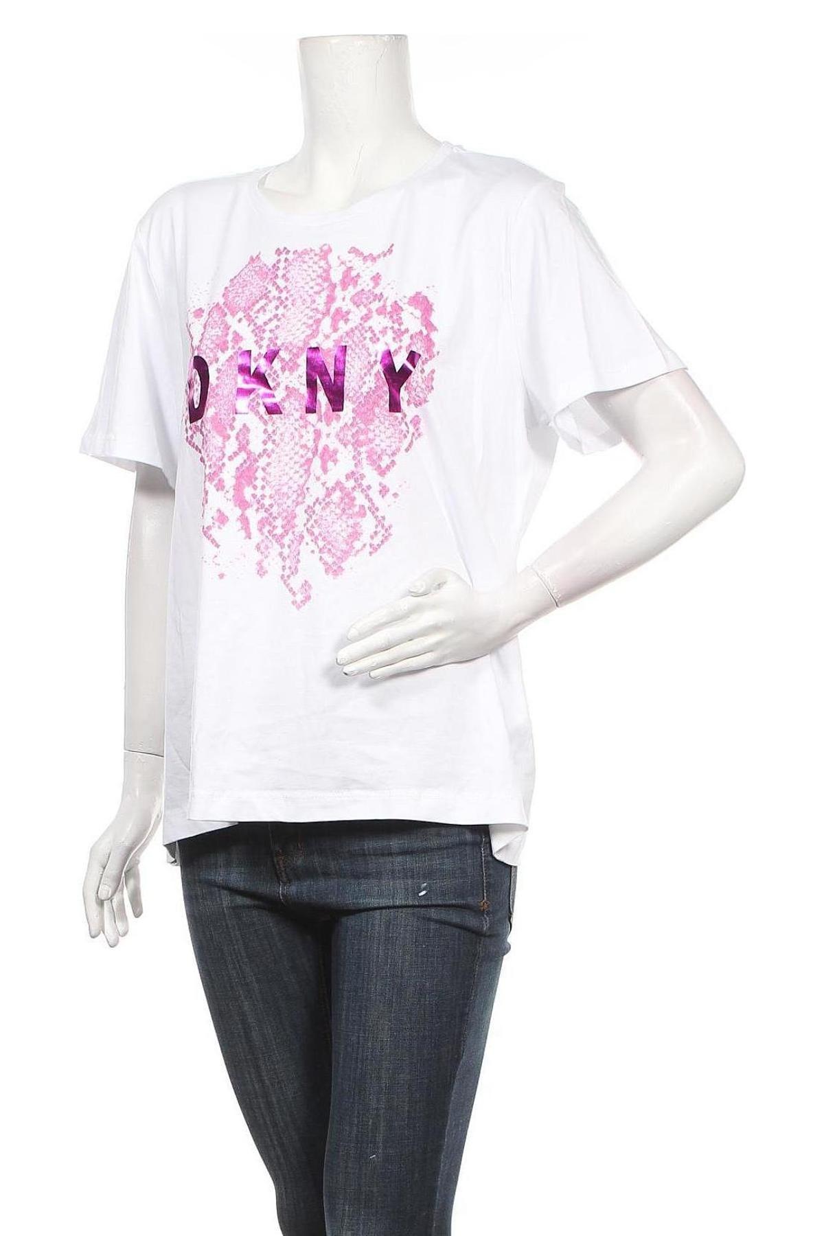 Дамска тениска DKNY, Размер XL, Цвят Бял, 60% памук, 40% модал, Цена 66,00лв.