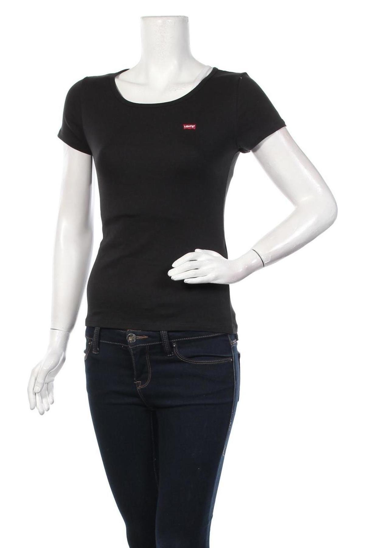 Дамска тениска Levi's, Размер XS, Цвят Черен, 96% памук, 4% еластан, Цена 44,25лв.