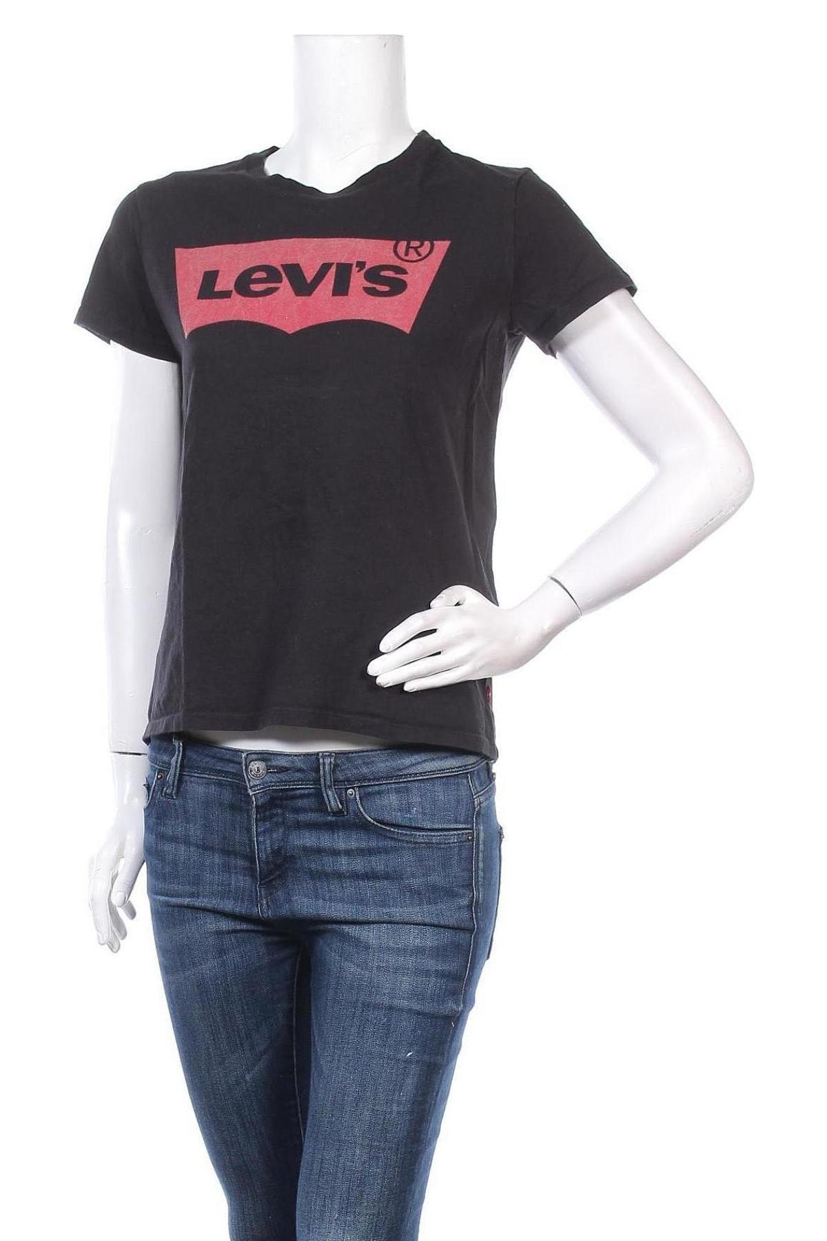 Дамска тениска Levi's, Размер M, Цвят Черен, Памук, Цена 44,25лв.