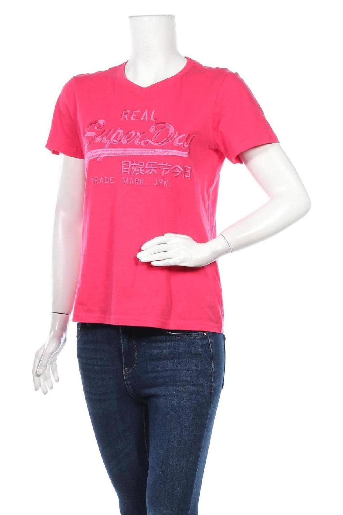 Дамска тениска Superdry, Размер M, Цвят Розов, Памук, Цена 48,36лв.
