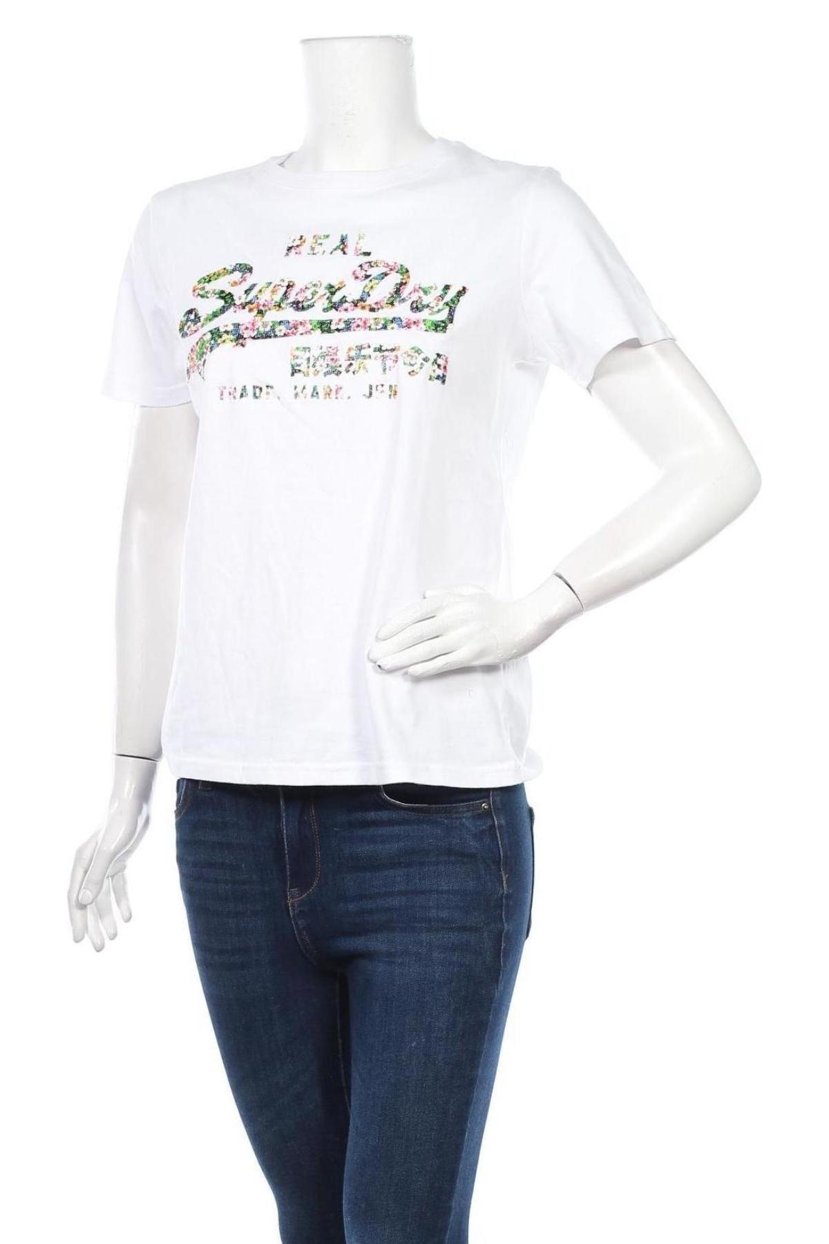 Дамска тениска Superdry, Размер M, Цвят Бял, Памук, Цена 51,75лв.